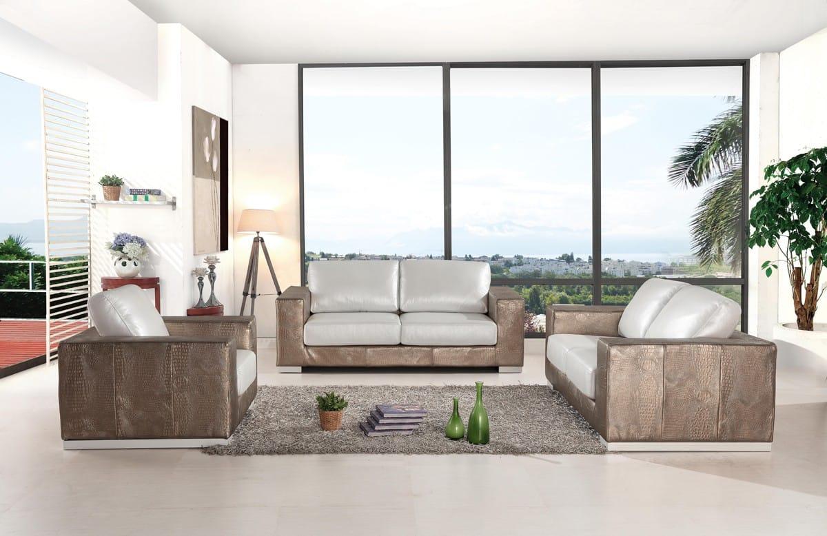 Divani Casa Cordova Modern Bronze & White Leather Sofa Set by VIG Furniture
