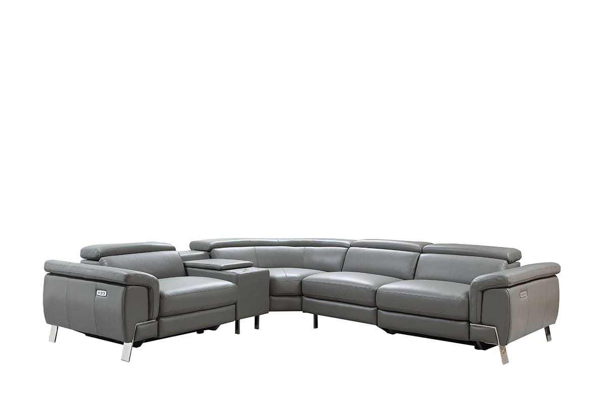 Divani Casa Easton Modern Dark Grey Leather Sectional Sofa W 2 Recliners By Vig Furniture