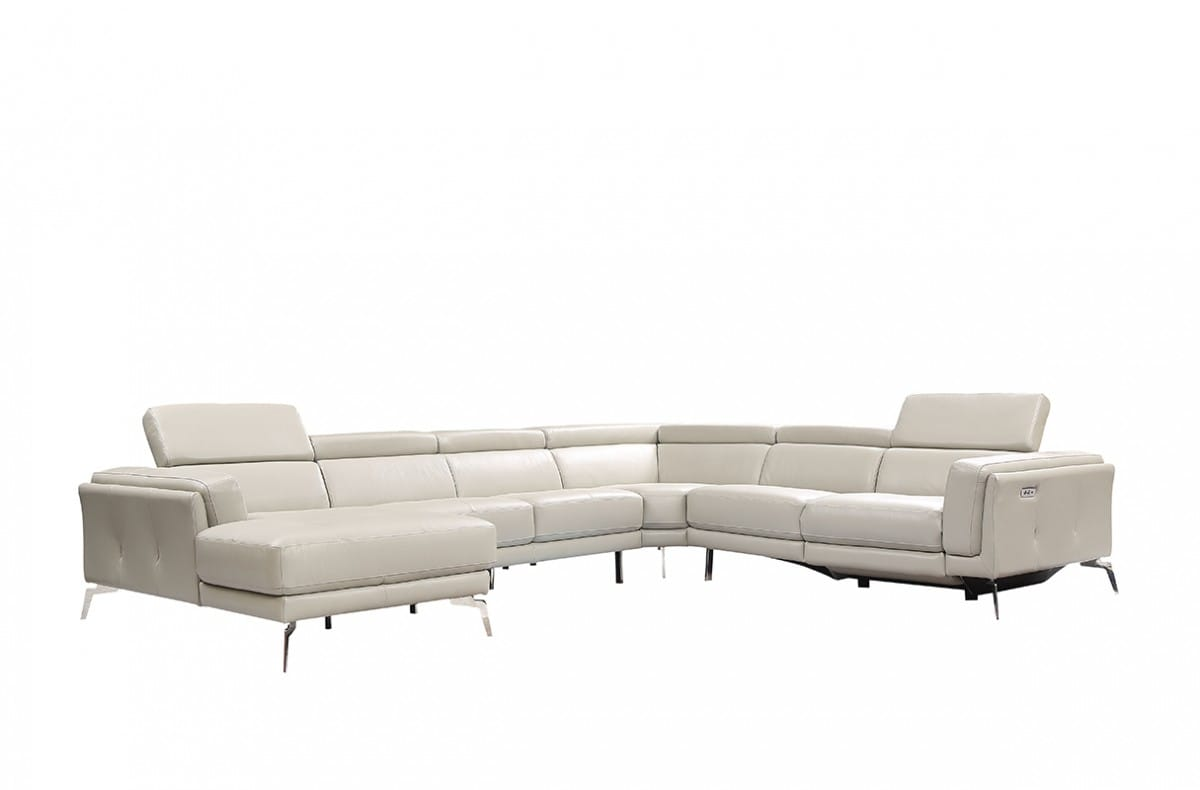 Divani Casa Gilsum Modern Light Grey Leather Sectional Sofa w/Recliner by  VIG Furniture