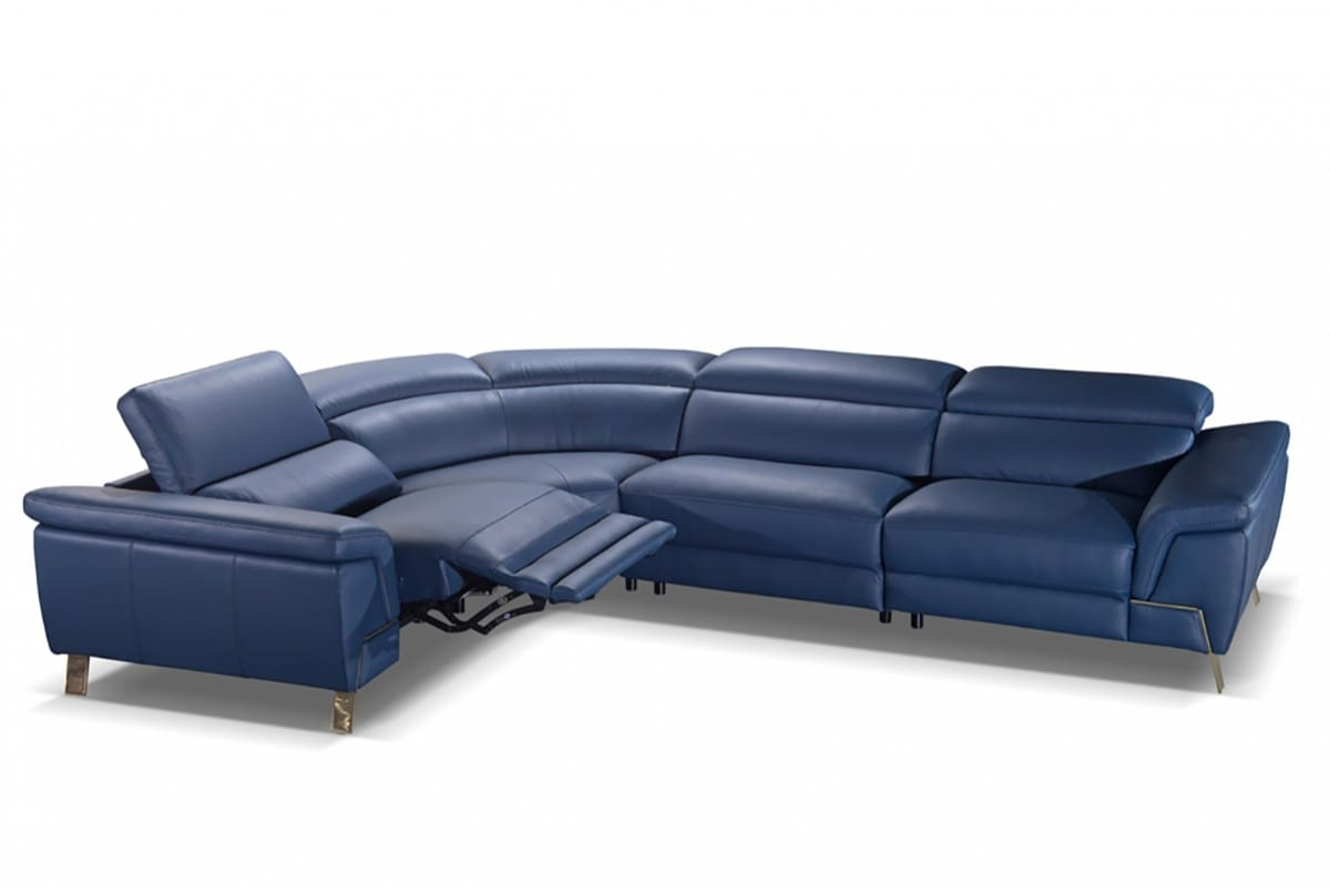Accenti Italia Azur Italian Modern Blue Leather Sectional Sofa w/Recliner  by VIG Furniture