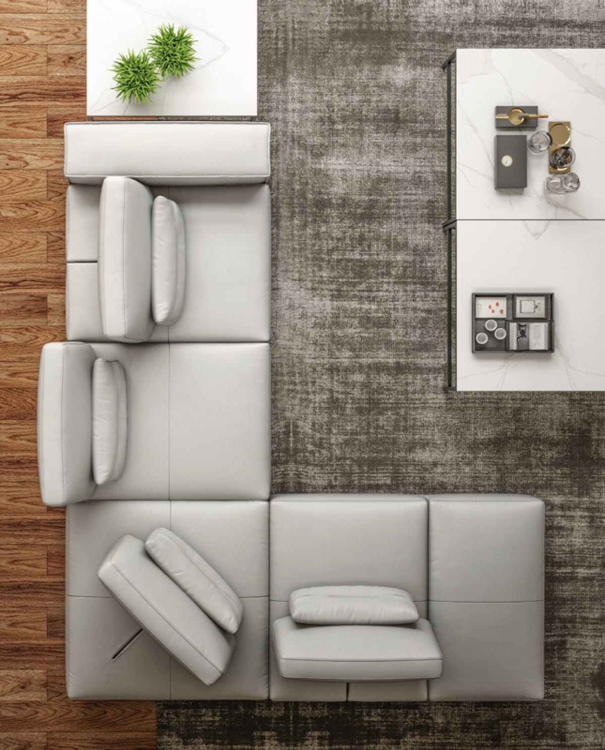 Accenti Italia Enjoy Italian Modern Light Grey Leather Sectional Sofa By Vig Furniture