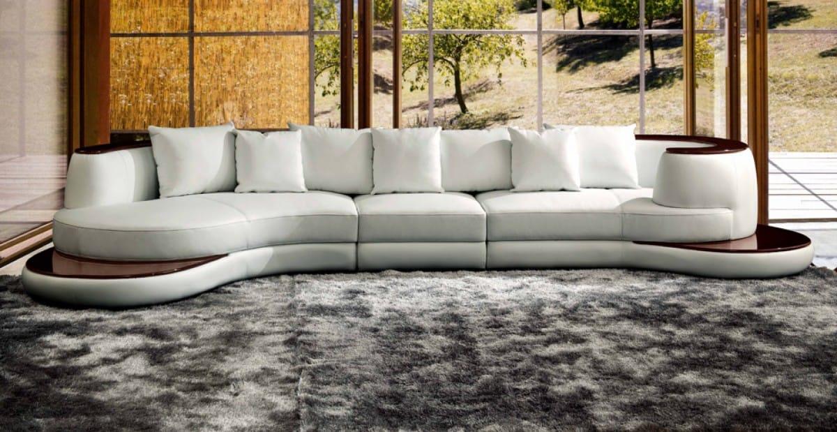 Divani Casa Rodus Rounded Corner, Round Sectional Leather Sofa