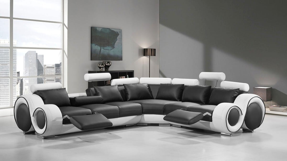 Divani Casa 4087 Modern Black White Bonded Leather Sectional Sofa By Vig Furniture