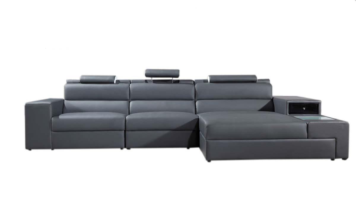 Divani Casa Gray Polaris Mini Contemporary Bonded Leather Sectional Sofa By Vig Furniture