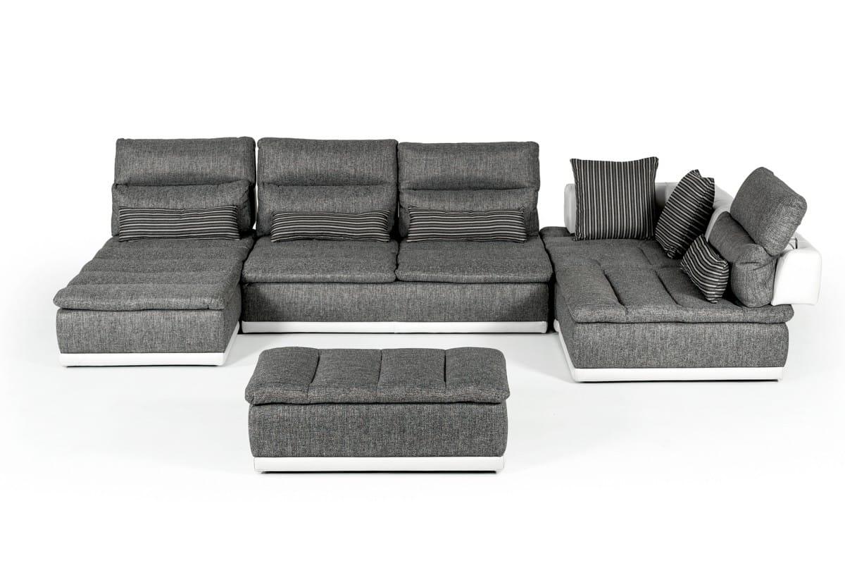 David Ferrari Panorama Italian Modern Grey Fabric & White Leather Sectional  Sofa by VIG Furniture