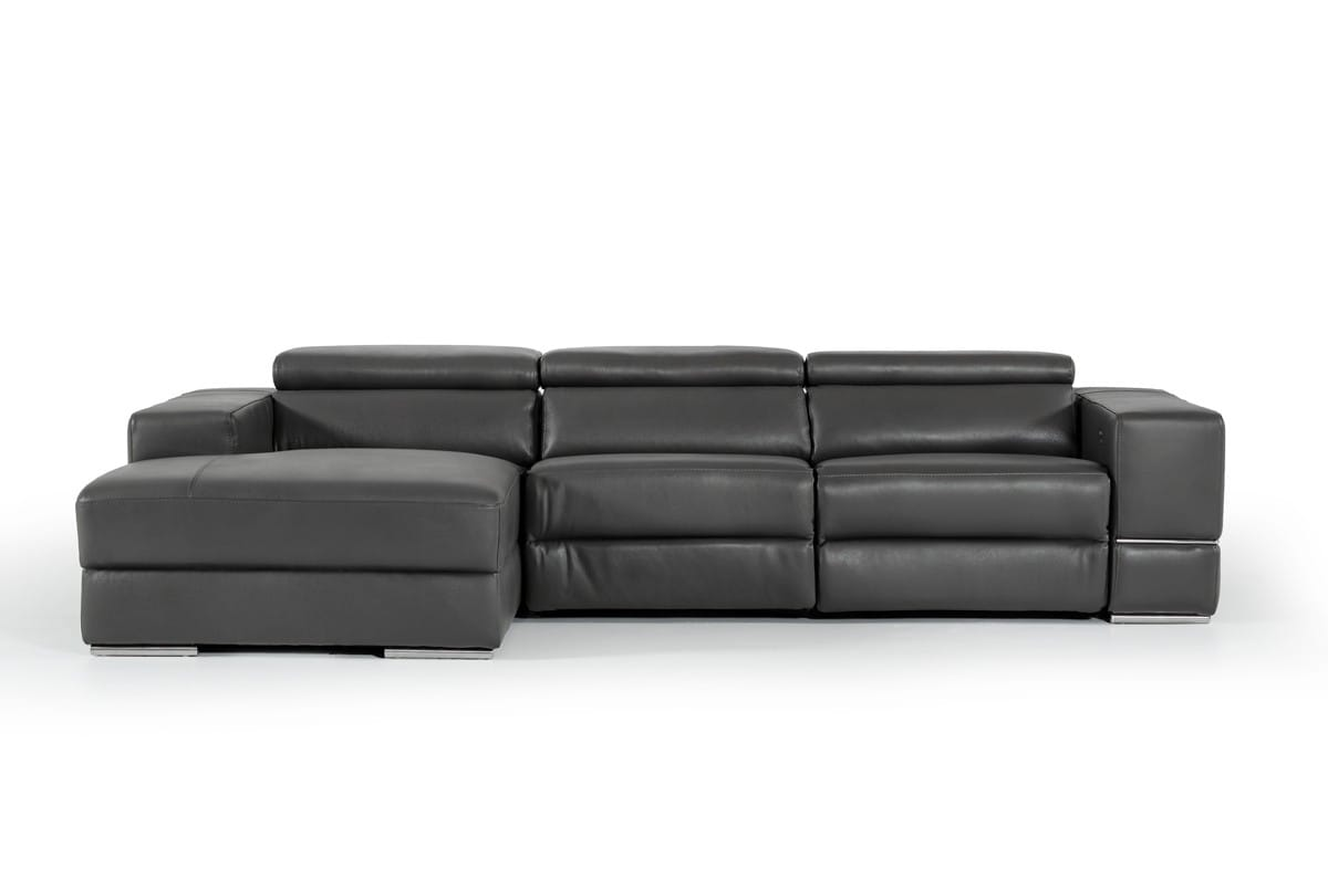 Divani Casa Hilgard Modern Dark Grey Leather Sectional Sofa W Recliner By Vig Furniture