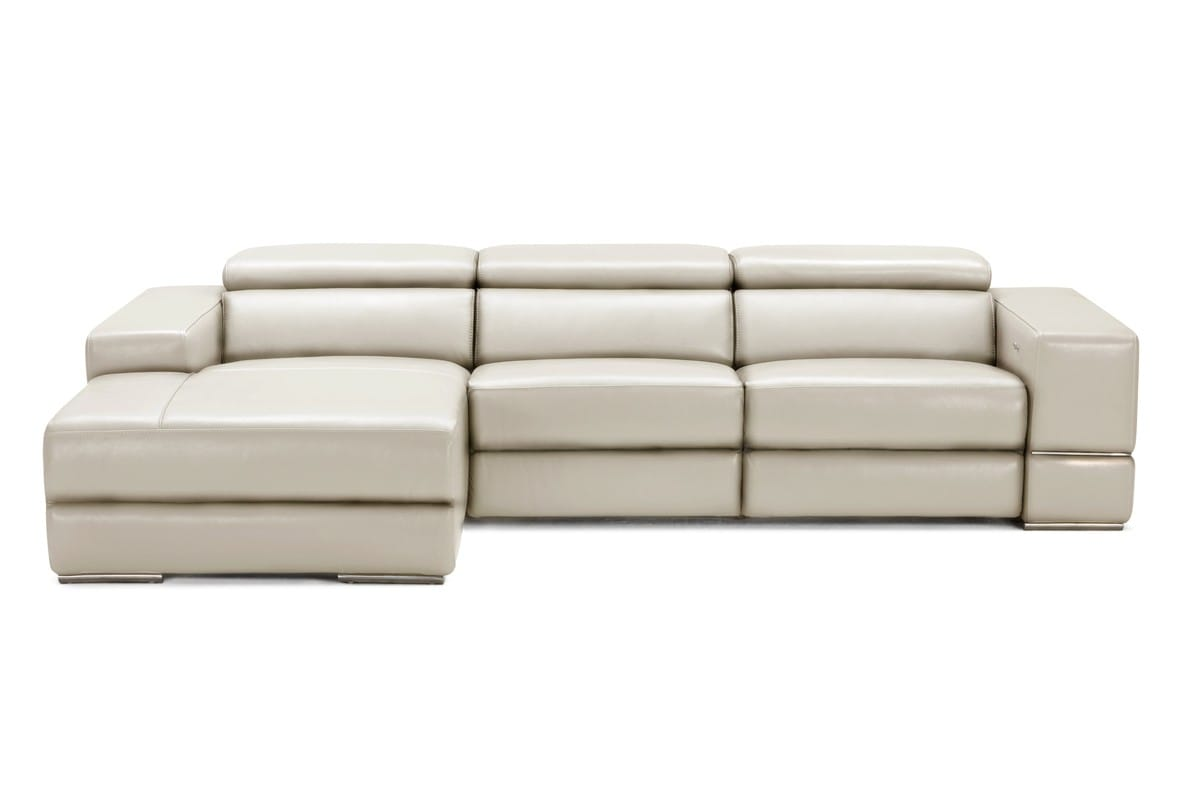 Divani Casa Hilgard Modern Light Grey Leather Sectional Sofa w/Recliners by  VIG Furniture