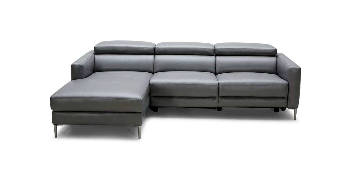 Modern Dark Grey Leather Sectional Sofa