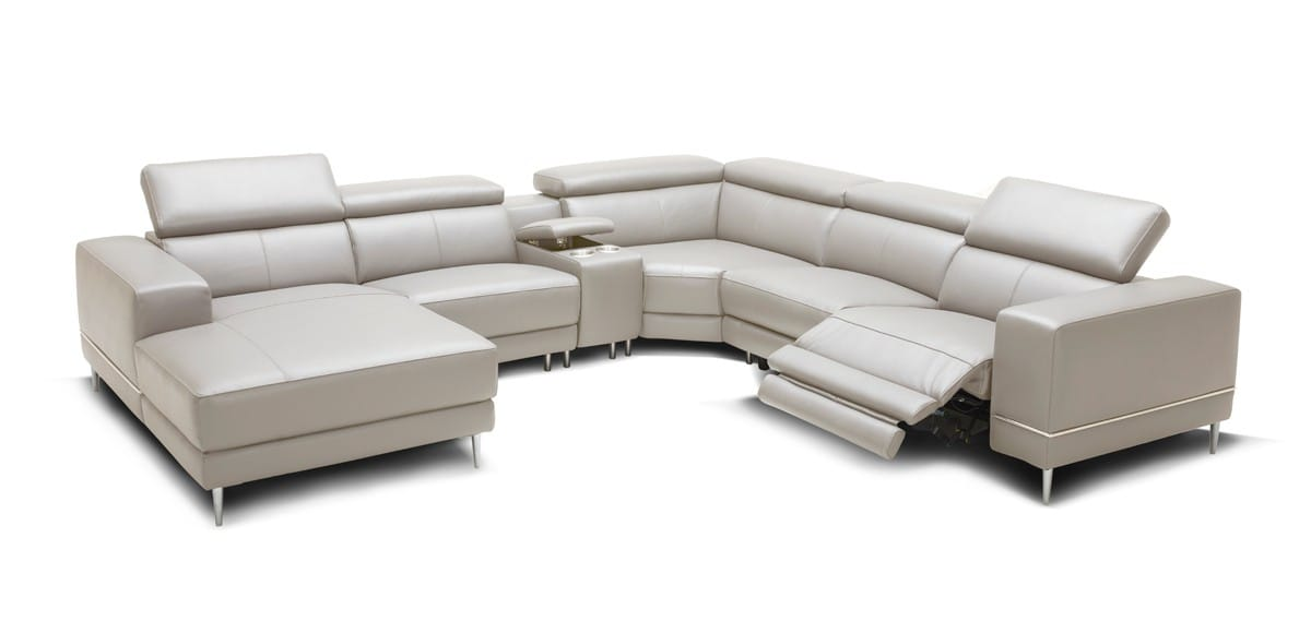 Divani Casa Wade Modern Light Grey Leather Sectional Sofa W 2 Electric Recliners Console By Vig Furniture