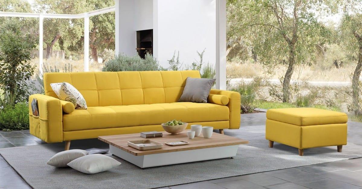 Divani Casa Micah Modern Yellow Fabric Sofa Bed & Ottoman w/Storage by VIG  Furniture