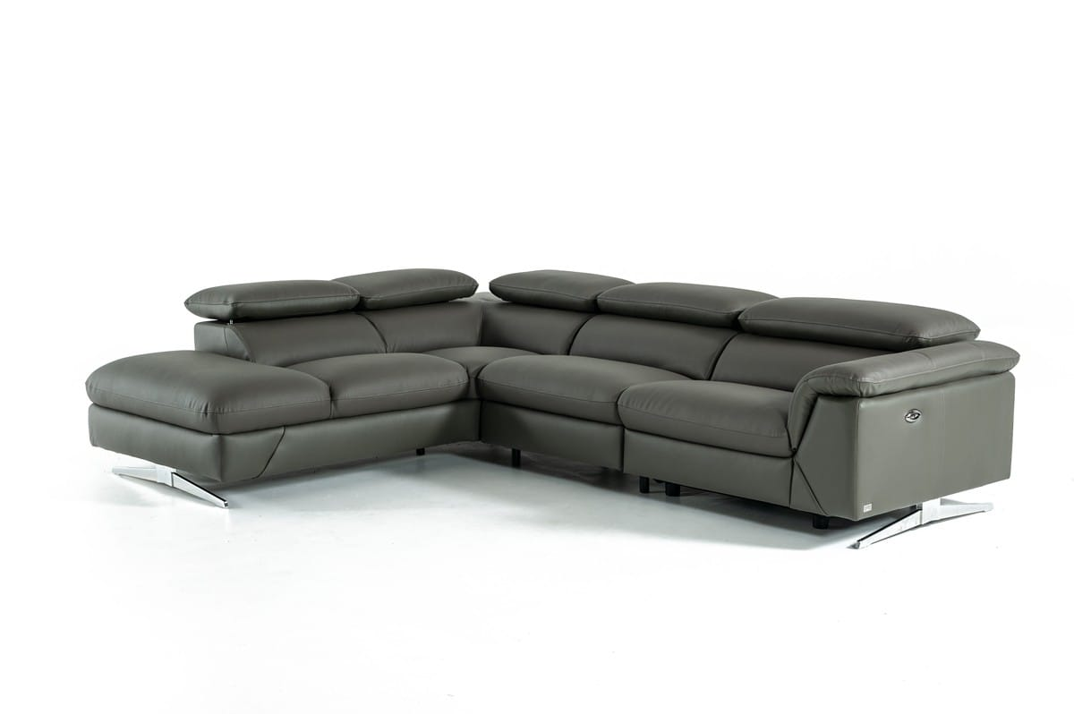 Divani Casa Maine Modern Dark Grey Eco-Leather Sectional Sofa w/Recliner by  VIG Furniture