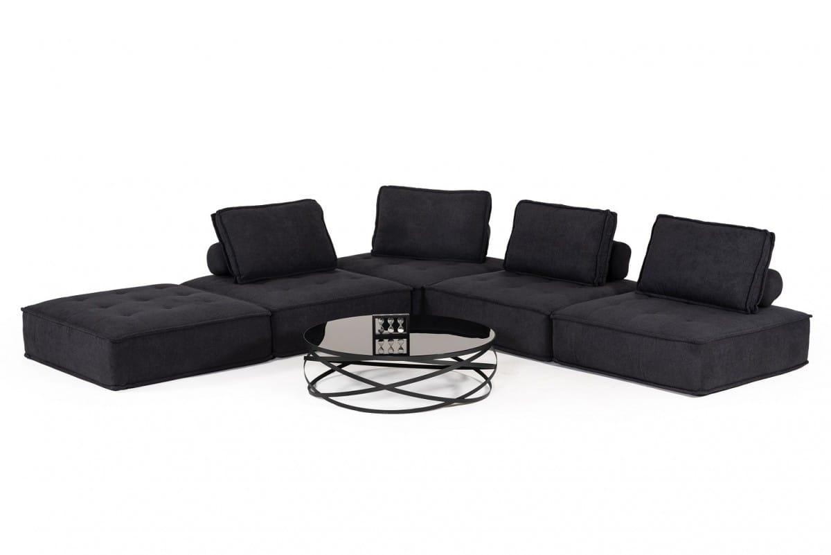 Divani Casa Nolden Modern Black Fabric Sectional Sofa By Vig Furniture