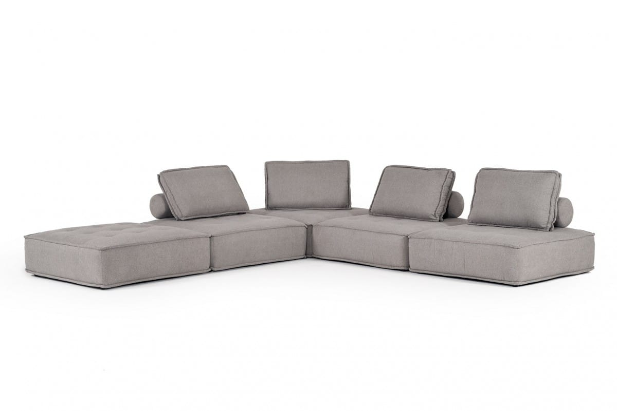 Divani Casa Nolden Modern Grey Fabric