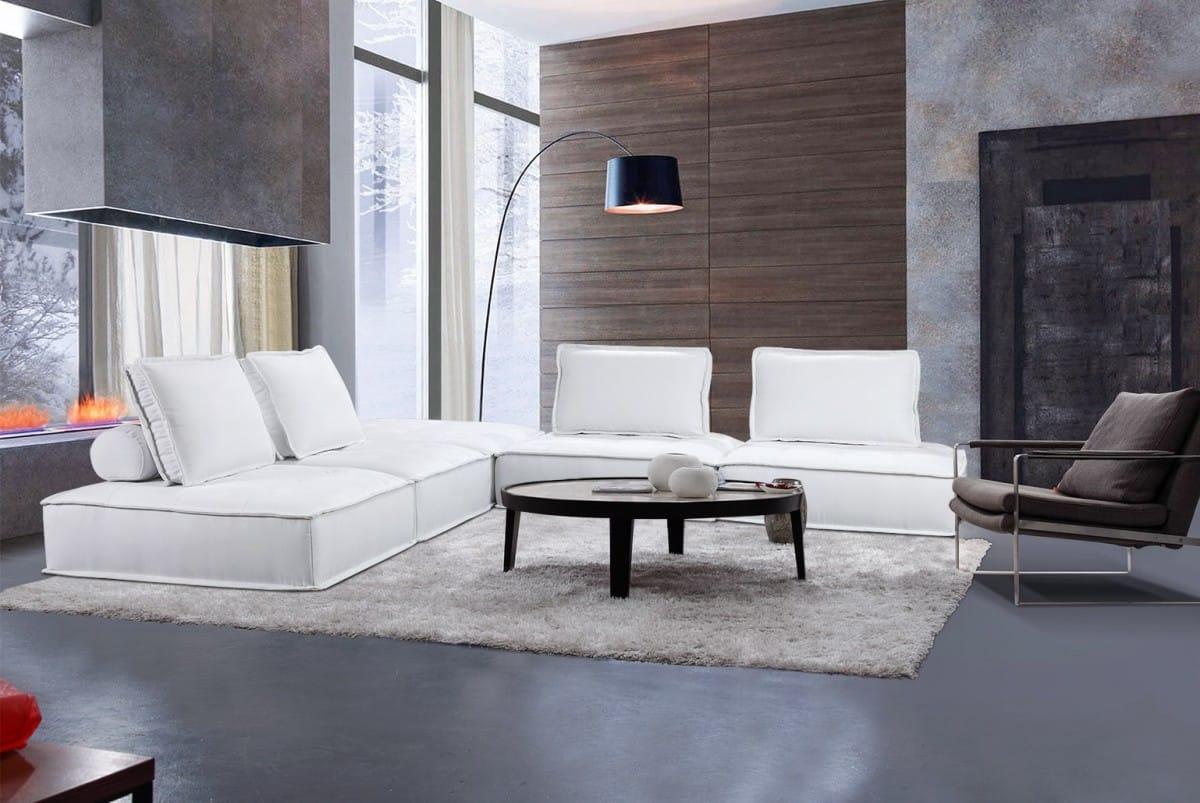 Divani Casa Nolden Modern White Fabric Sectional Sofa by VIG Furniture