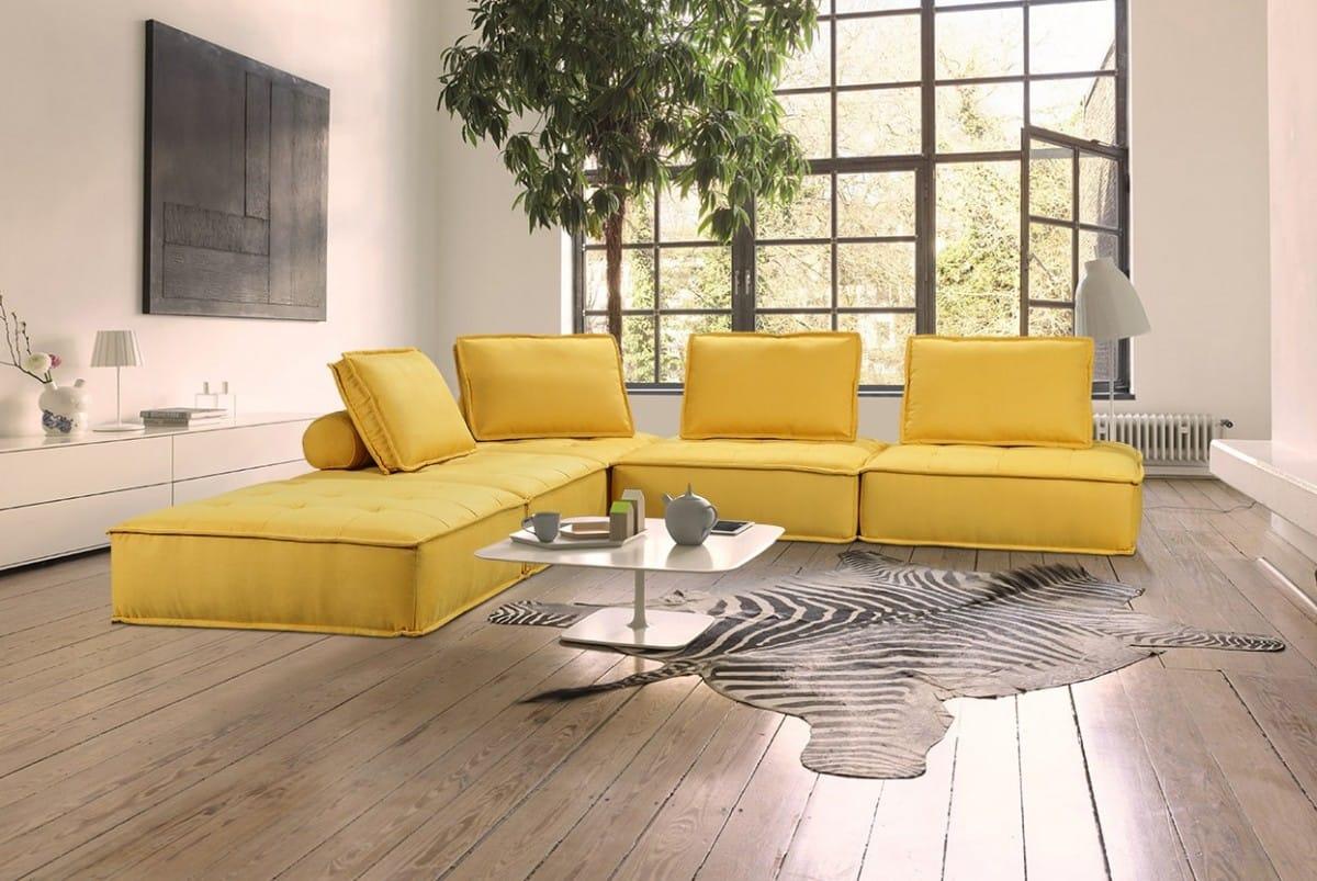 Divani Casa Nolden Modern Yellow Fabric Sectional Sofa by VIG Furniture