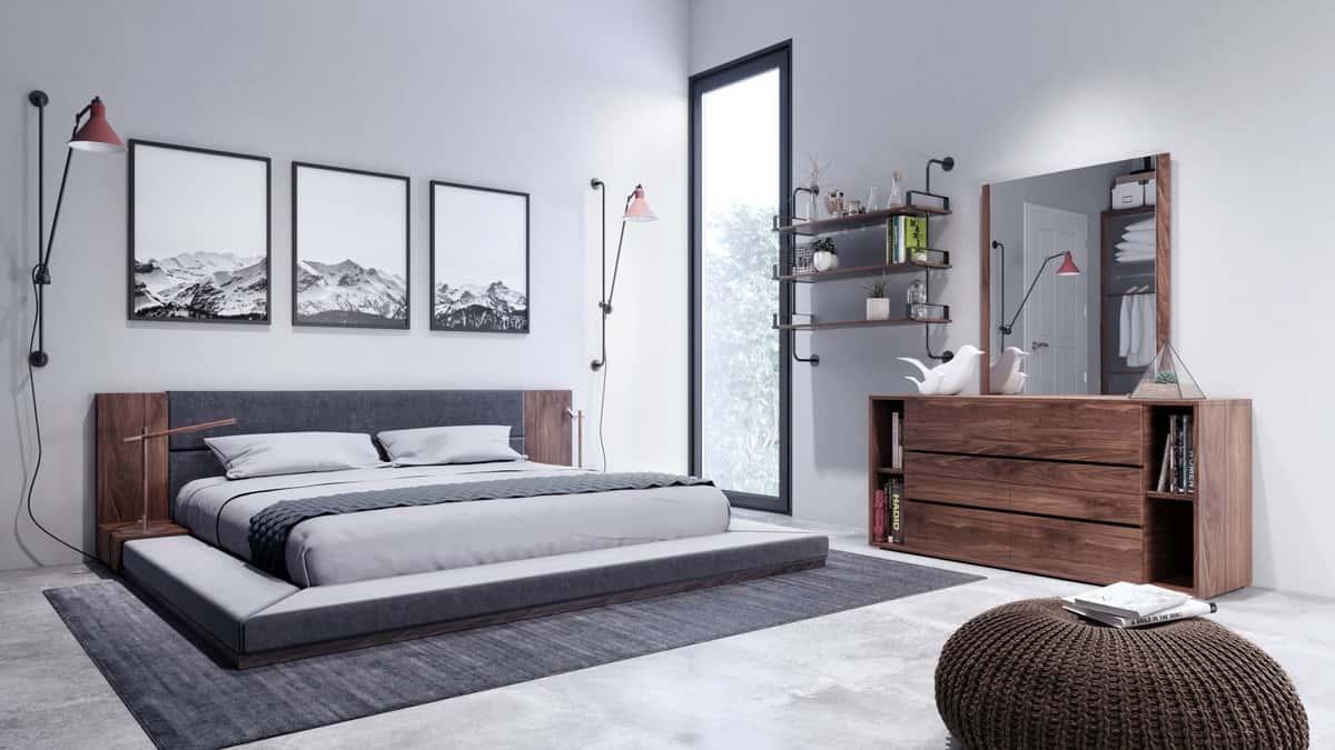 nova domus jagger modern dark gray  walnut bedroom set