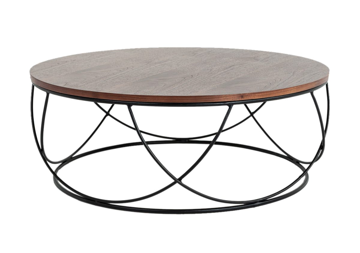 Picture of: Modrest Strang Modern Walnut Black Round Coffee Table By Vig Furniture