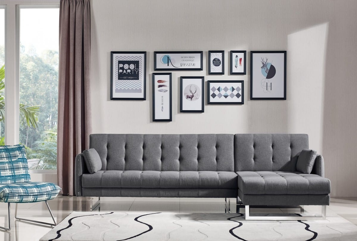 Divani Casa Lennox Modern Grey Fabric Sectional Sofa Bed By Vig Furniture