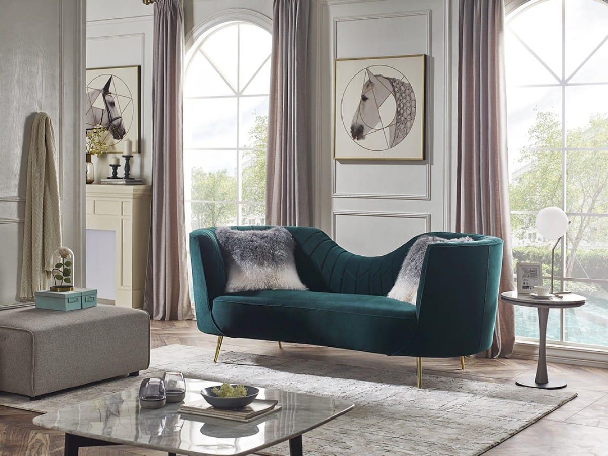 Divani Casa Loretta Modern Green Velvet Sofa By Vig Furniture