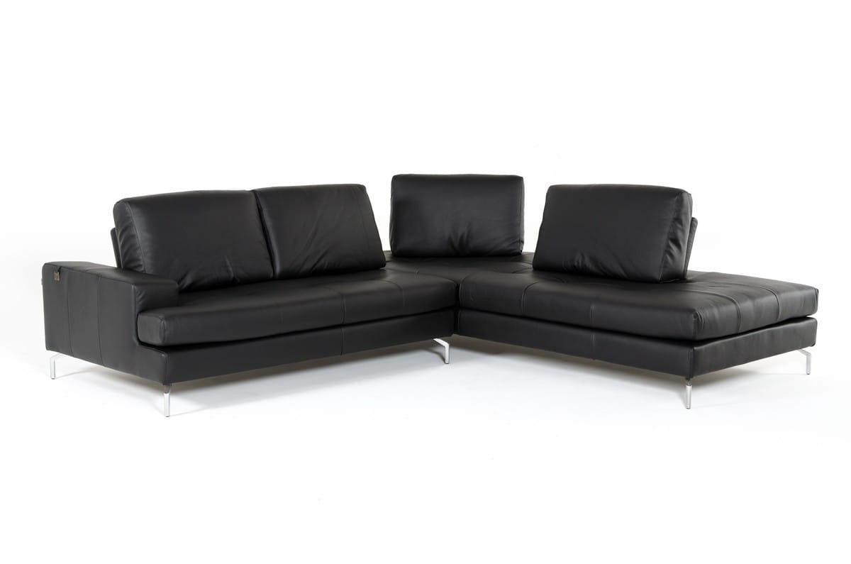 Estro Salotti Voyager Modern Black Leather Sectional Sofa By Vig Furniture