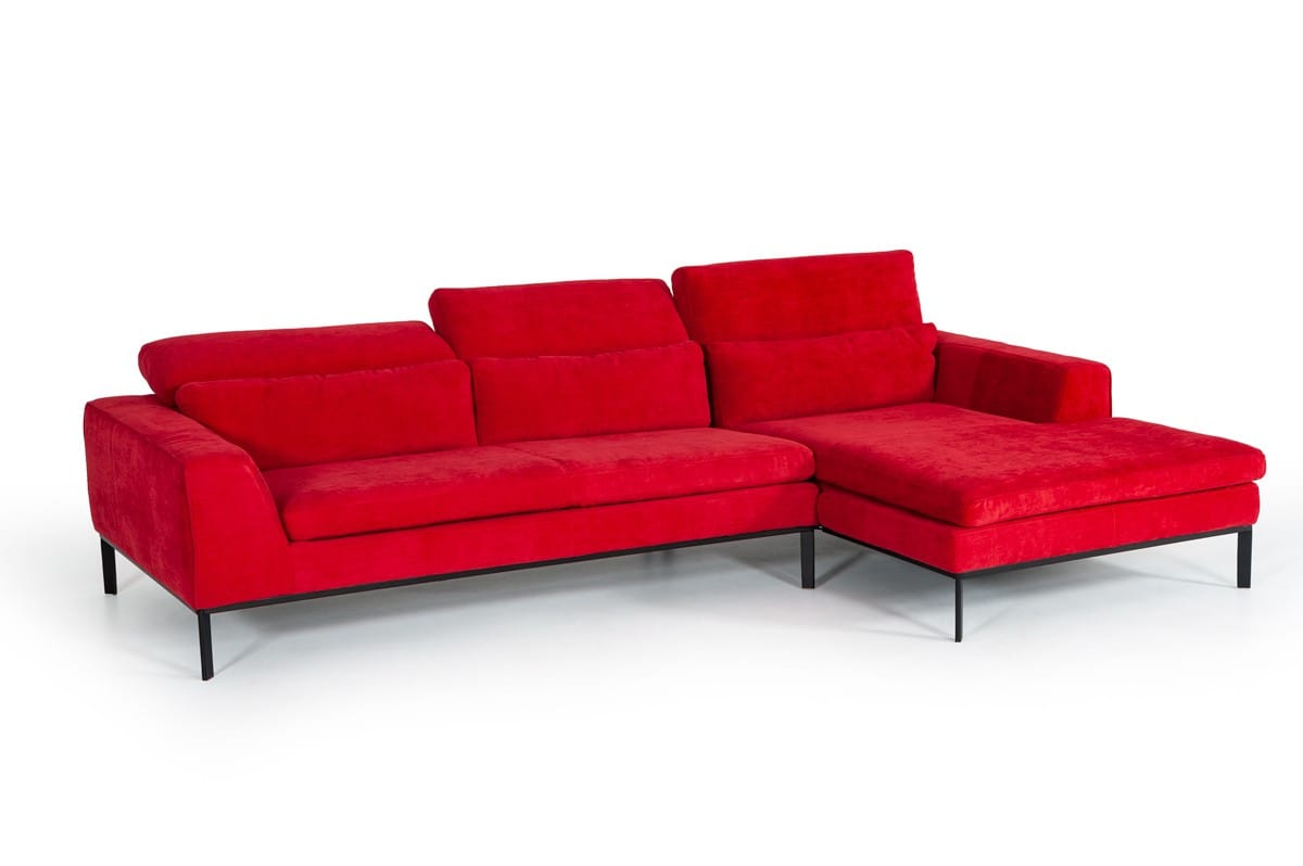 Divani Casa Clayton Modern Red Fabric Sectional Sofa by VIG Furniture