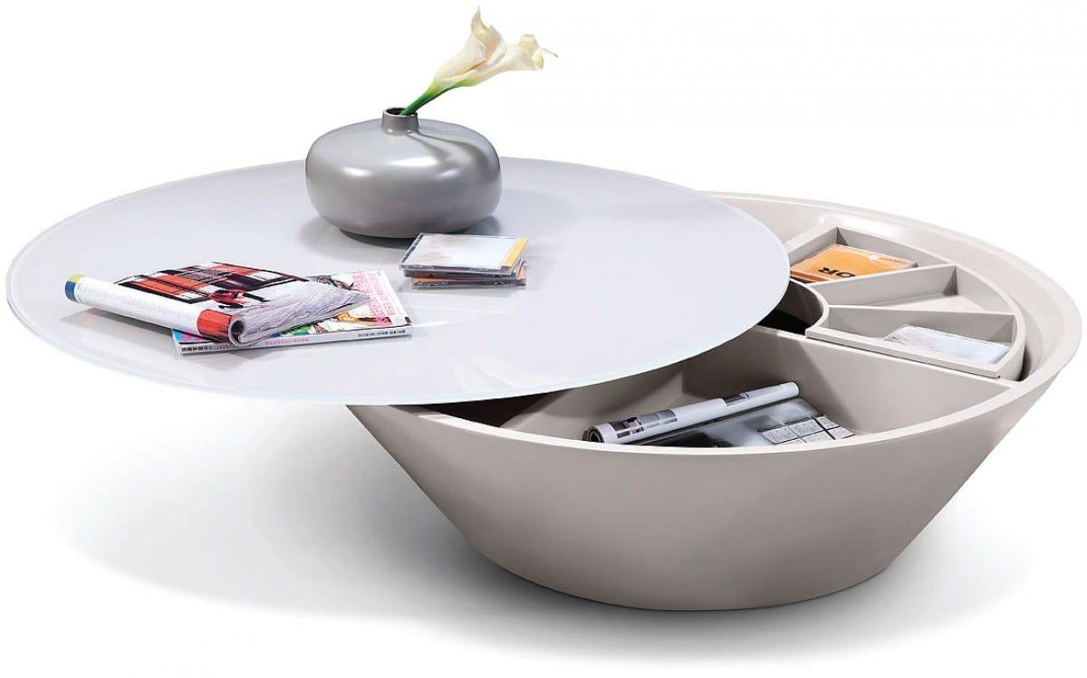 - Modrest Pepper - Modern Coffee Table W/Swivel Storage