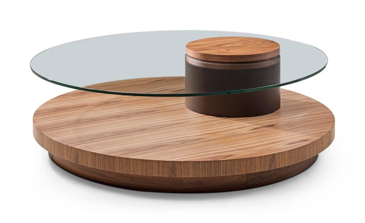 - Modrest Memphis Modern Walnut & Glass Round Coffee Table By