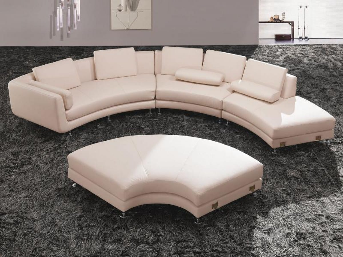 Divani Casa A94 White Contemporary Leather Sectional Sofa Ottoman By Vig Furniture