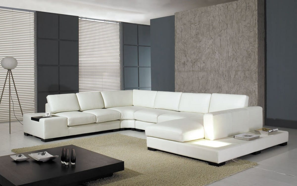 Picture of: Divani Casa T35 White Modern Leather Sectional Sofa W Light By Vig Furniture