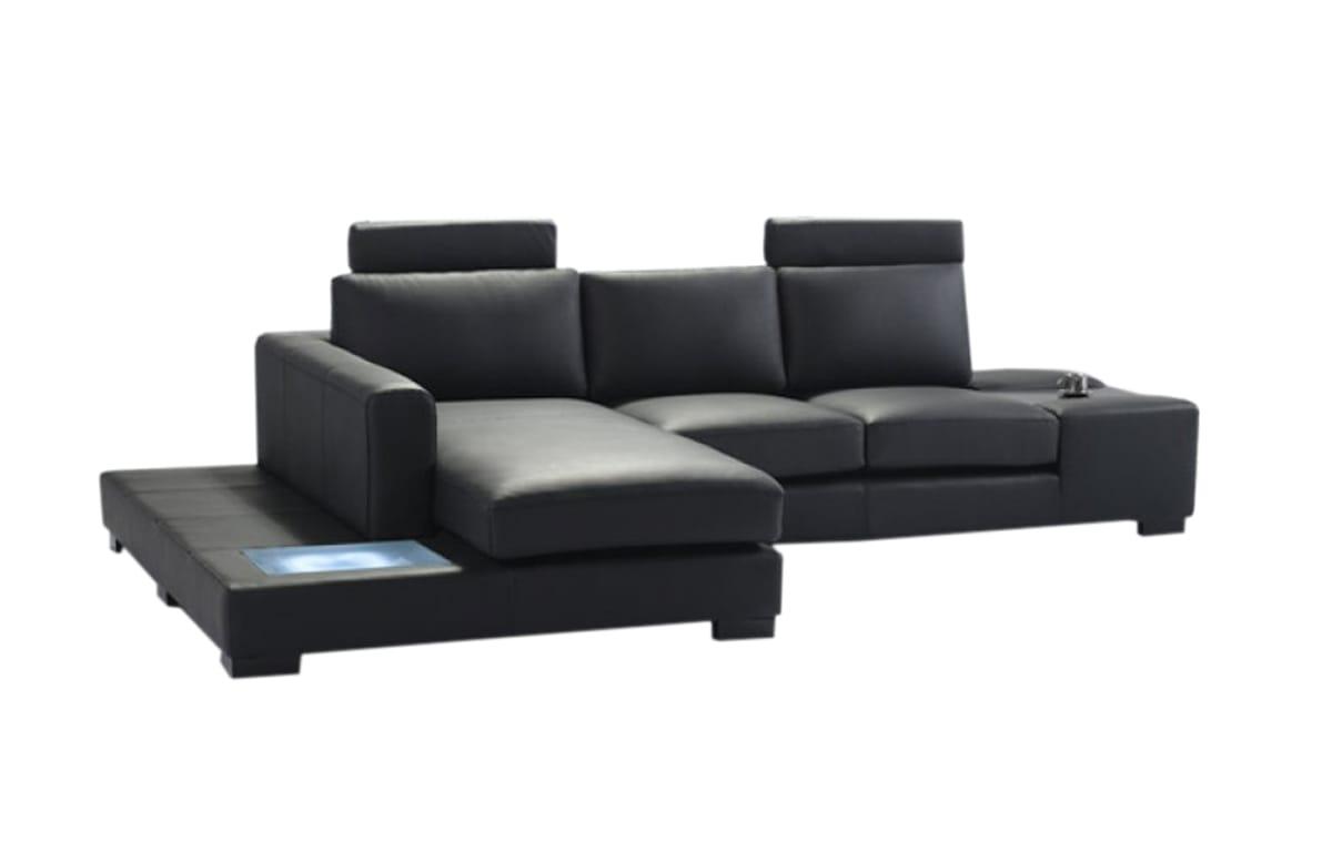 White Leather Sectional Sofa divani casa t35 mini modern leather sectional sofa w/light by vig furniture