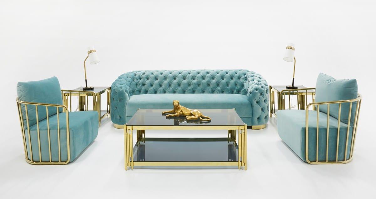 Divani Casa Voss Modern Blue Velvet Sofa By Vig Furniture