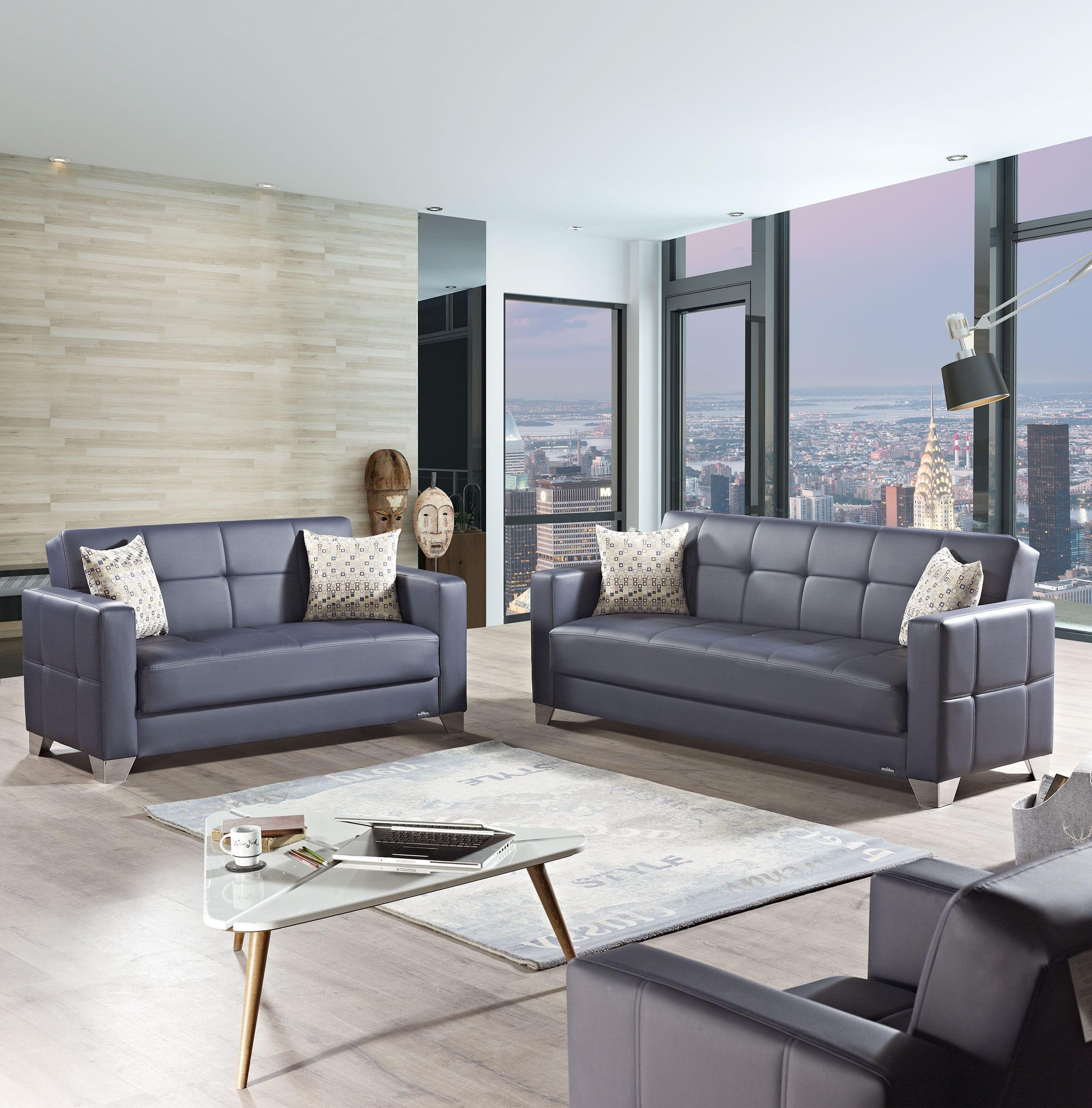 Viva Italia Prestige Navy Blue Leatherette Sofa Bed by Mobista