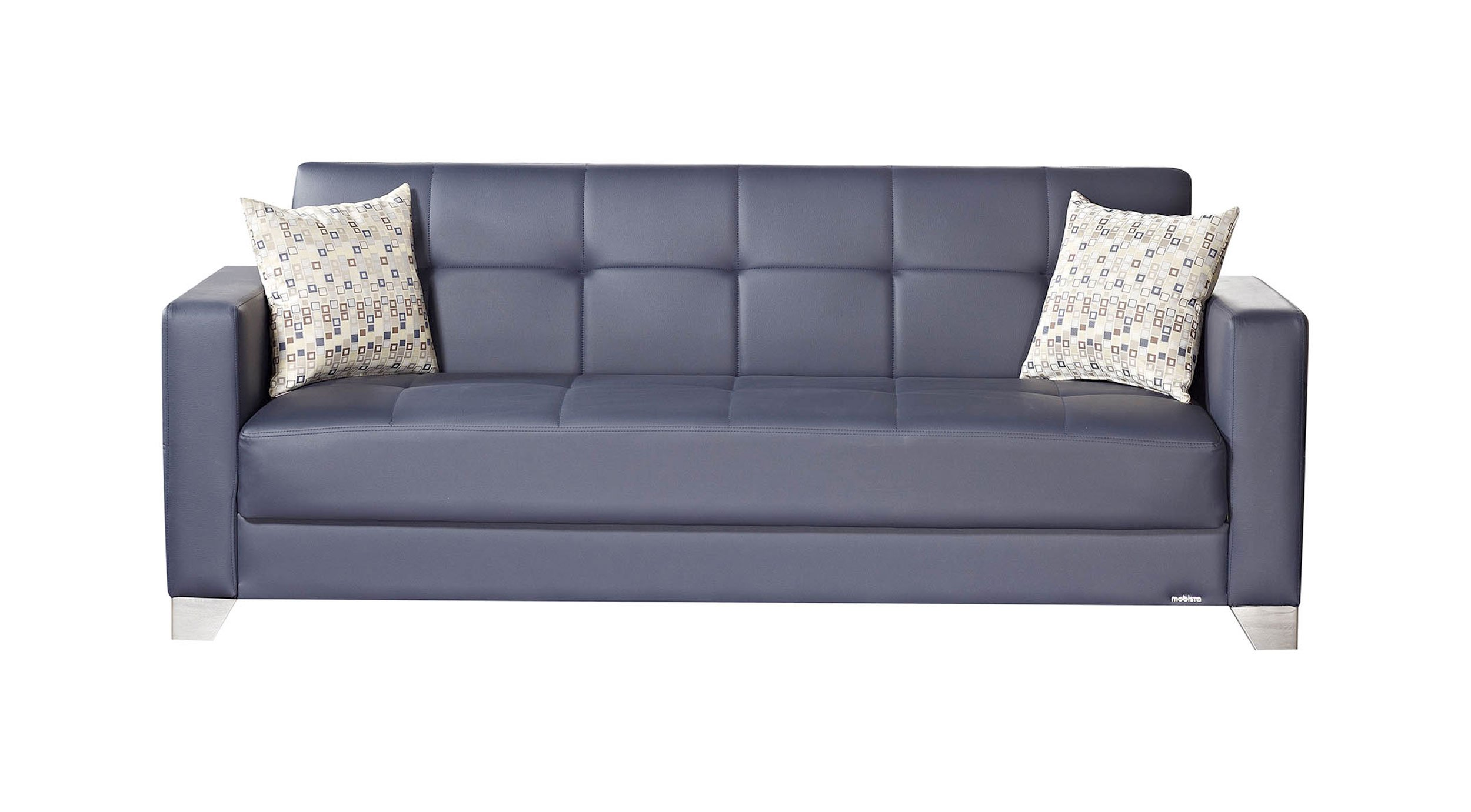 Viva Italia Prestige Navy Blue Leatherette Sofa Bed By Mobista