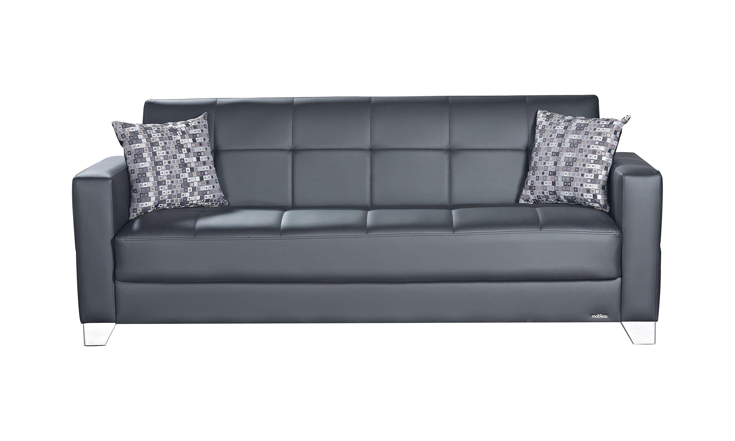 Viva Italia Prestige Black Leatherette Sofa Bed by Mobista