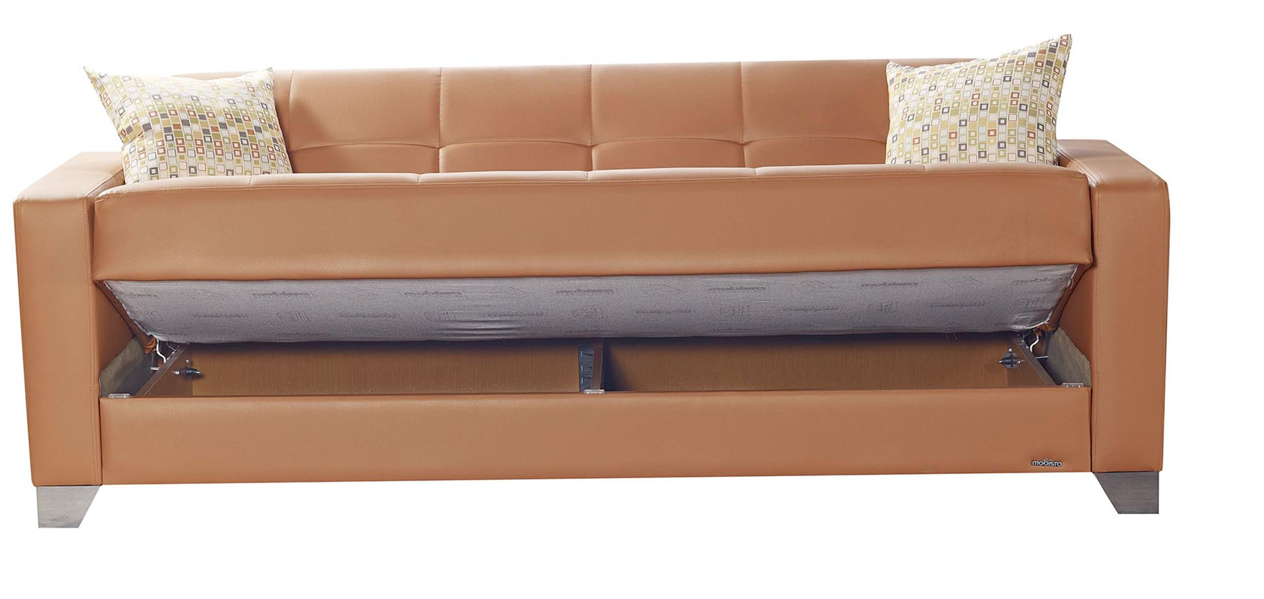viva italia prestige orange leatherette sofa bed by mobista