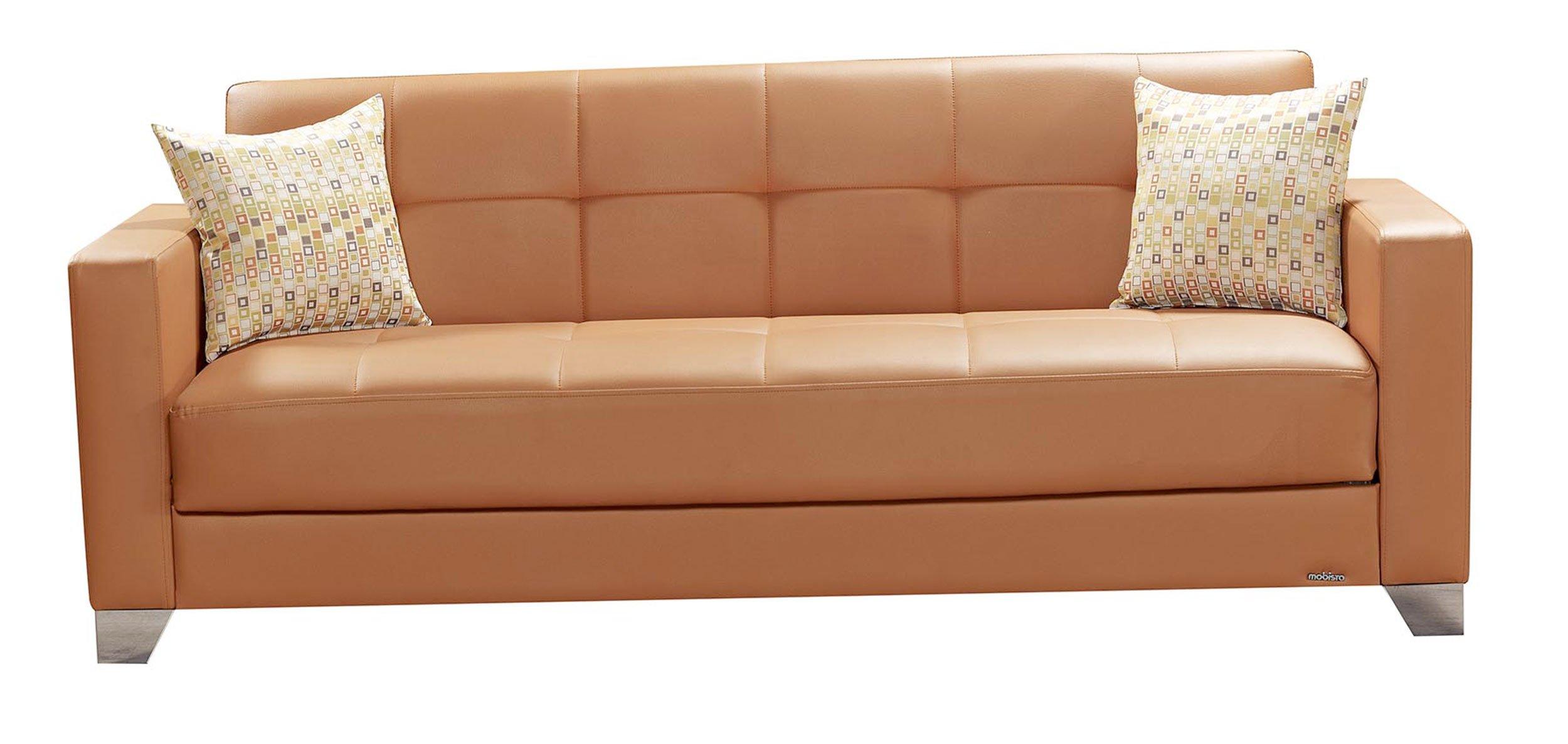 viva italia prestige orange leatherette sofa bed by mobista