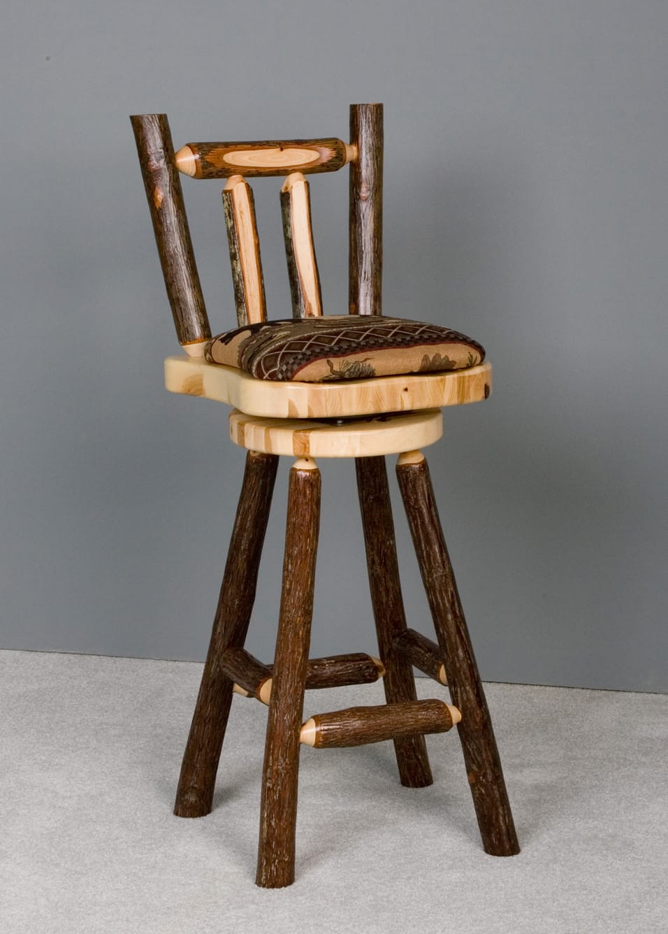 Picture of: Sawtooth Hickory 30 Bar Stool Upholstered W Back Swivel By Viking Log Furniture