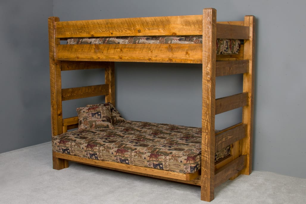 Picture of: Barnwood Twin Futon Bunk Bed By Viking Log Furniture