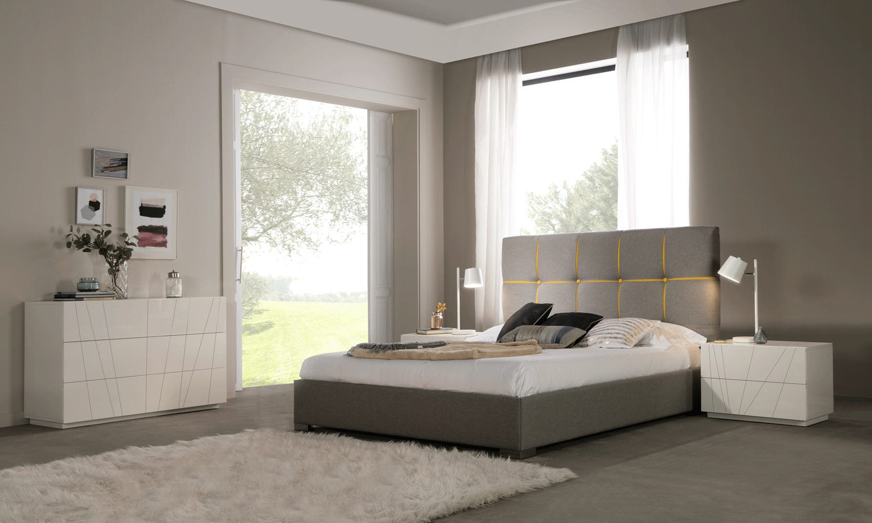 Veronica Gray and Yellow Bedroom Set by ESF