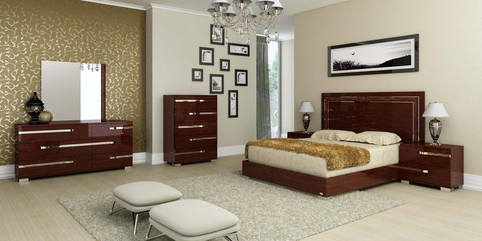 Volare Walnut Bedroom Set by At Home USA