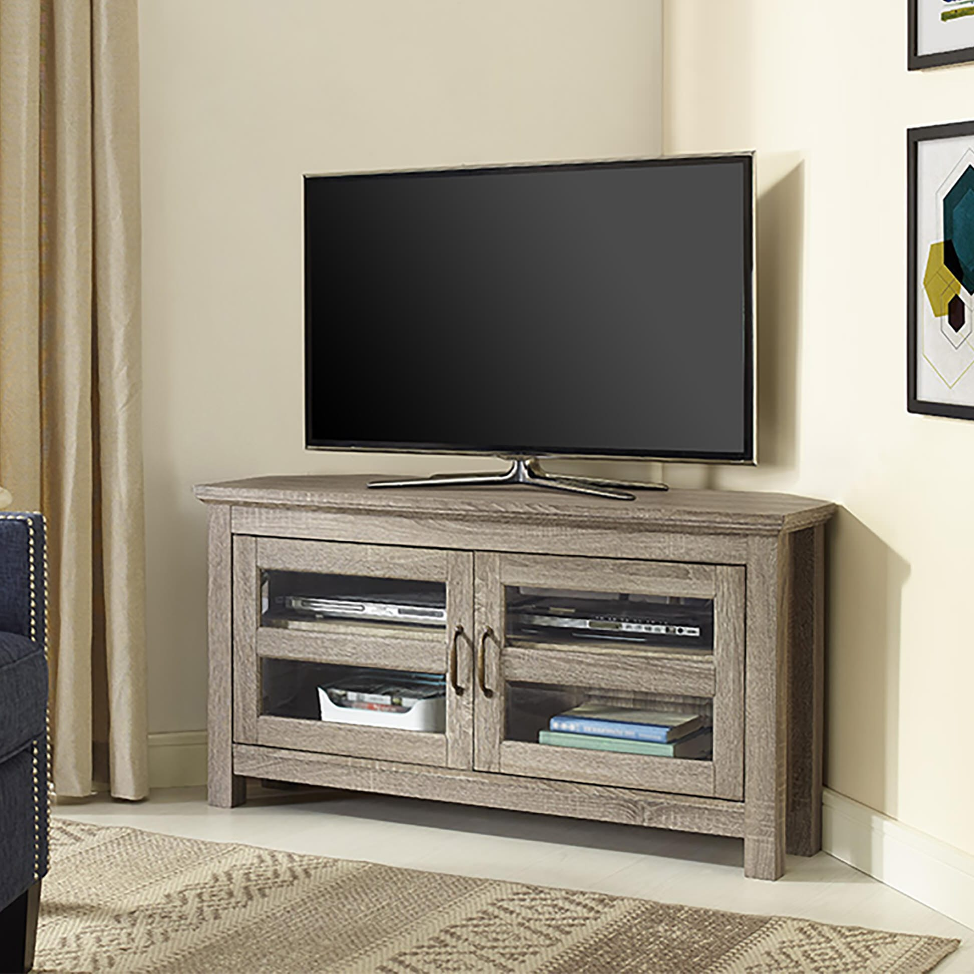 44 Inch Wood Tv Stand Driftwood By Walker Edison