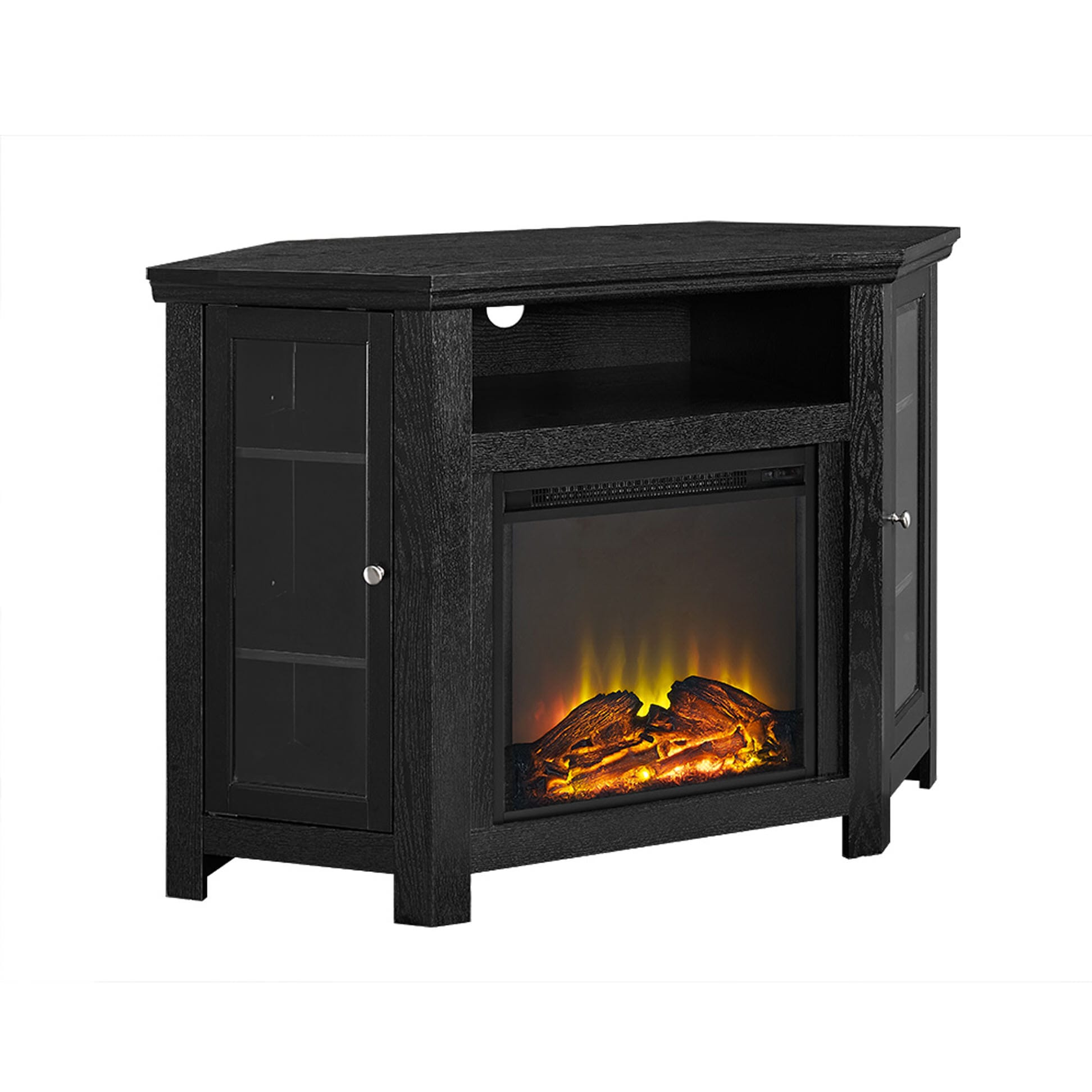 jackson 48 inch corner fireplace tv stand black by walker edison. Black Bedroom Furniture Sets. Home Design Ideas