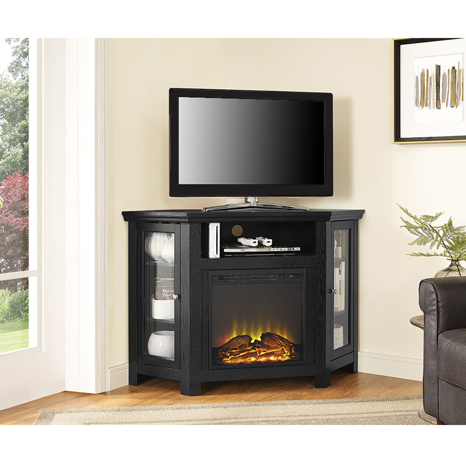 jackson 48 inch corner fireplace tv stand black by