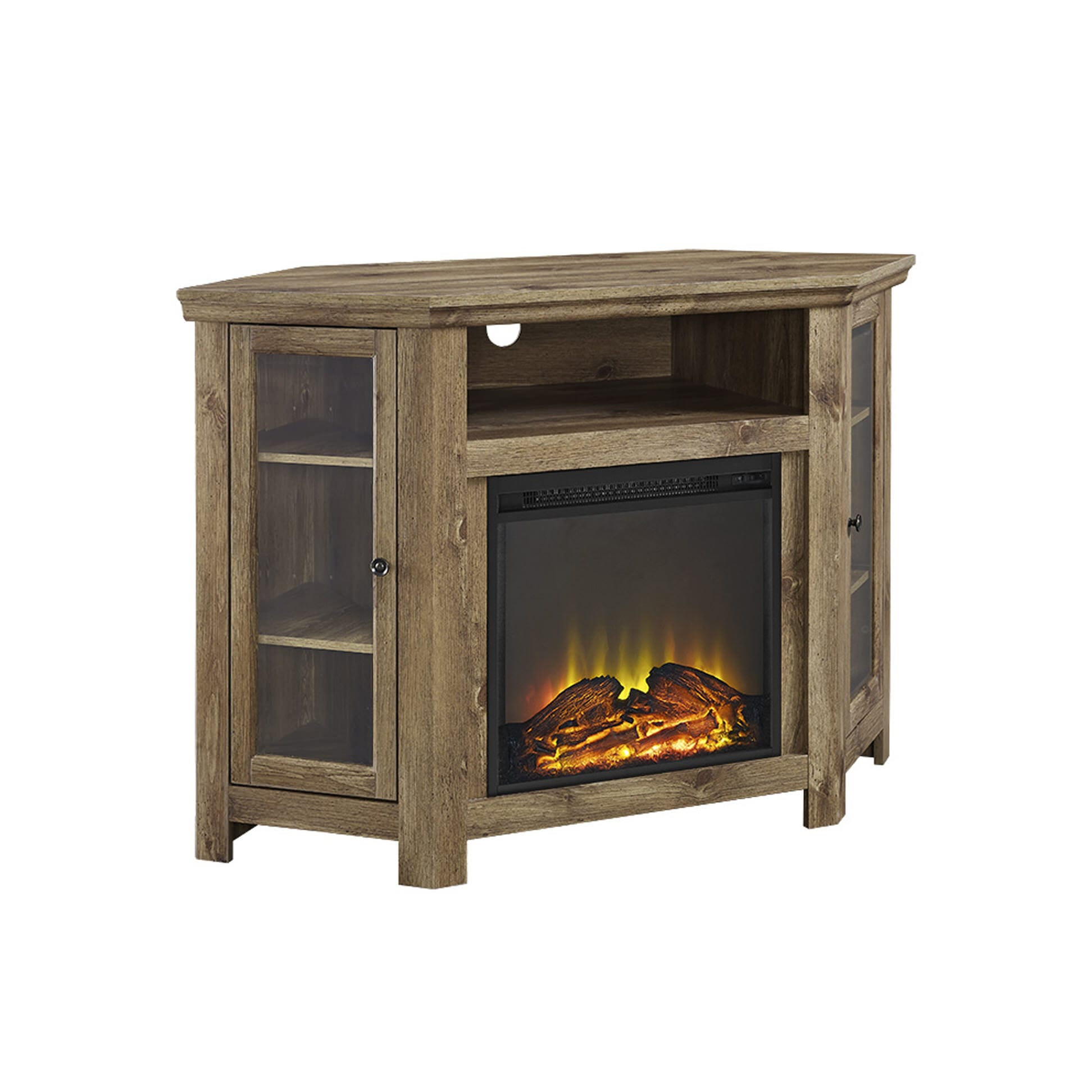 Jackson 48 Corner Fireplace TV Stand - Barnwood by Walker Edison Utilize your corner space with this 48 wood media stand with electric fireplace. Its corner design makes this the perfect space saving unit while creating a warm