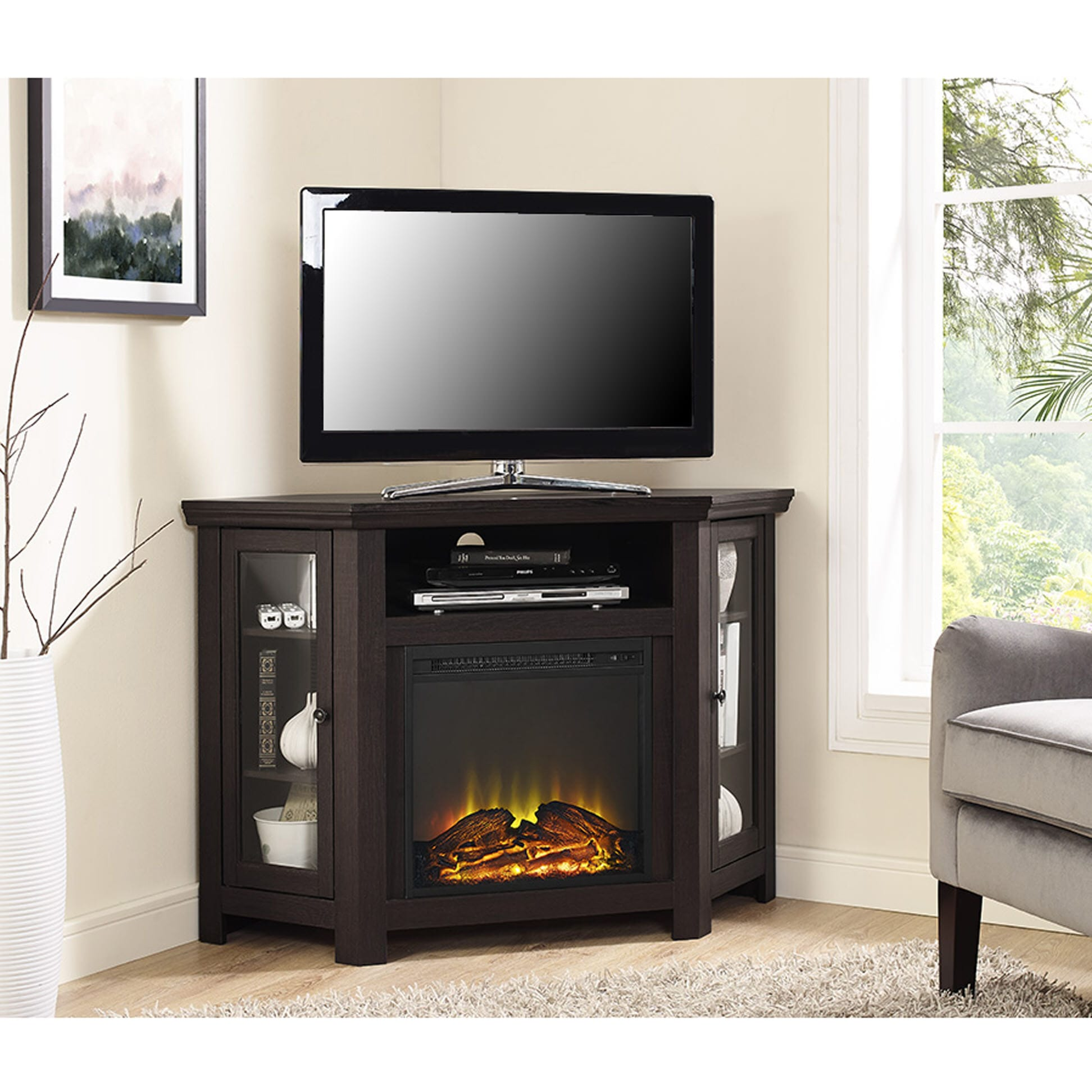Jackson 48 Inch Corner Fireplace Tv Stand Espresso By