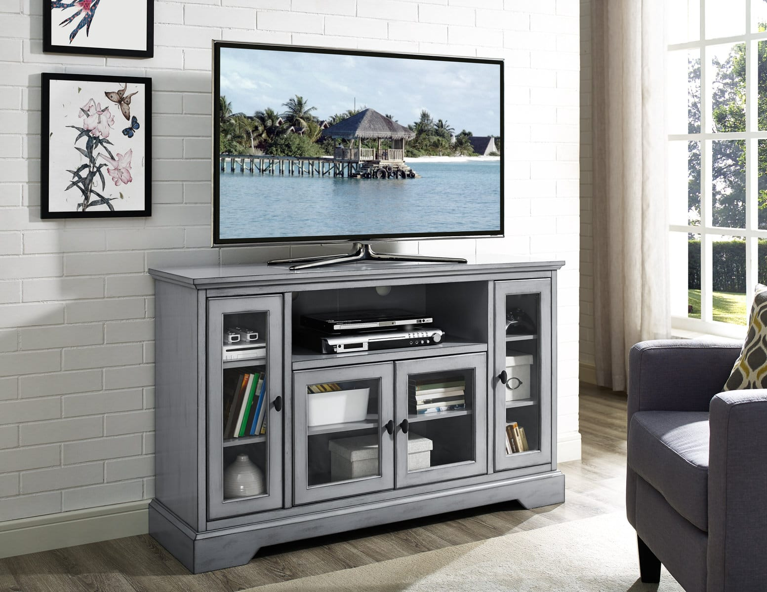 52 Inch Wood Highboy TV Media Stand Storage Console   Antique Gray By  Walker Edison