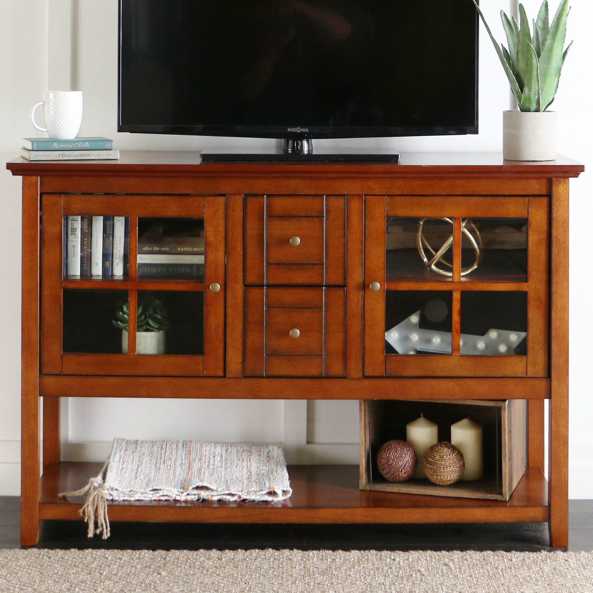 Buffet 52 Inch Tv Console Table Rustic Brown By Walker