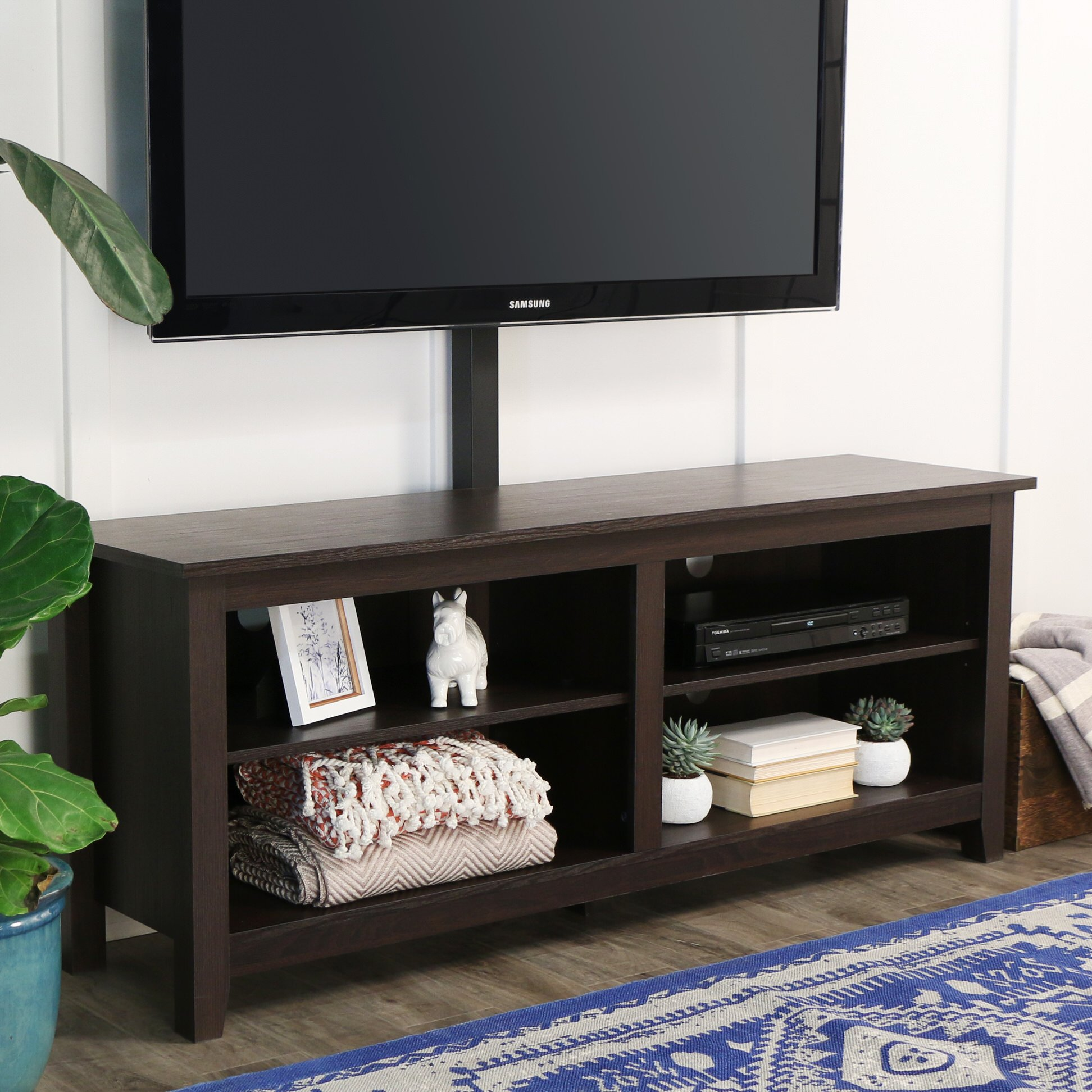 58 Inch Wood Tv Console With Mount Espresso By Walker Edison