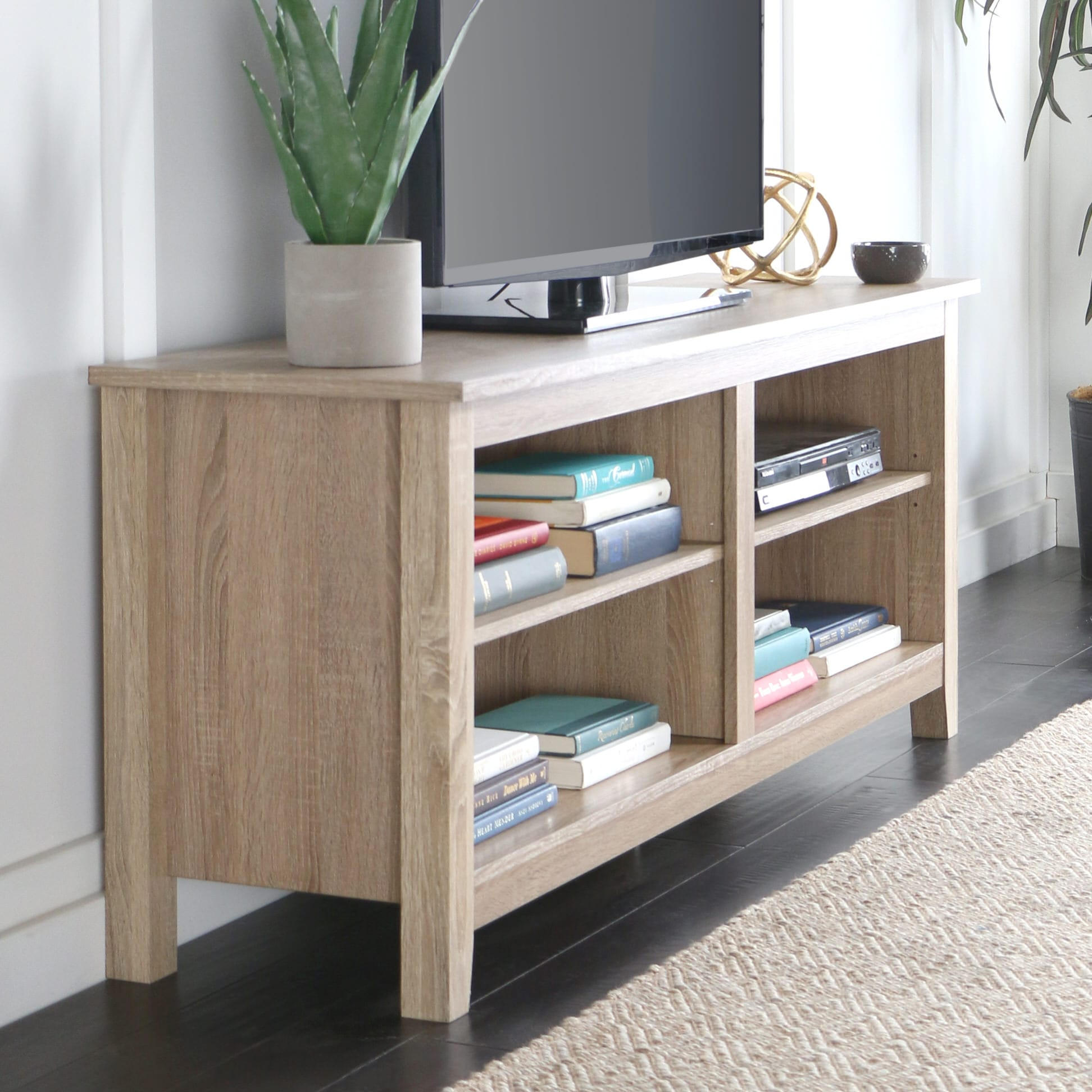 Essential 58 Inch Wood Tv Console Natural By Walker Edison