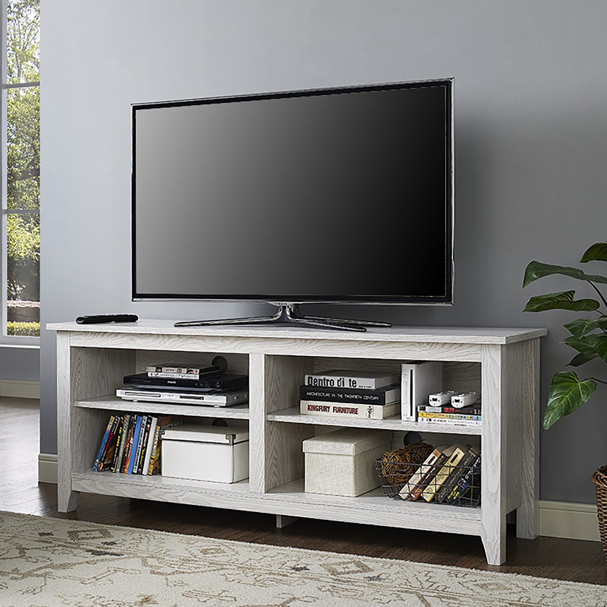 58 inch white wash wood tv stand by walker edison. Black Bedroom Furniture Sets. Home Design Ideas